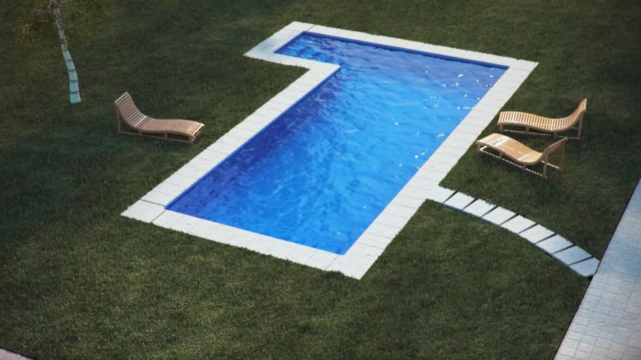 piscina interrata vista dall\